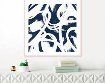 Blue Abstract Art, Printable Navy Blue Wall Art, Modern Printable Art, Navy Blue Decor, Contemporary Art