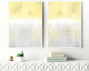 Ombre Abstract Art, Yellow, White and Grey Abstract Prints, Set Of 2 Minimalist Paintings, 24x36 Diptych wall Art, Hygge Scandinavian Art