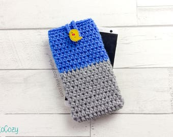 Grey Blue Two-Toned Mobile Phone Case with Wooden Yellow Bird Button, Cool iPhone Cover, Handmade Crochet Custom Phone Case, Vegan Pouch