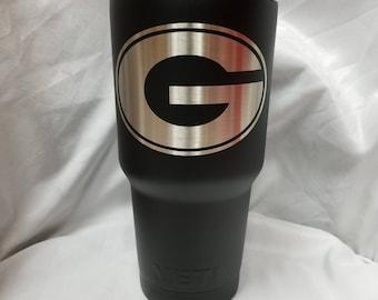 Georgia Bulldogs black Custom Powdercoated Yeti Cup