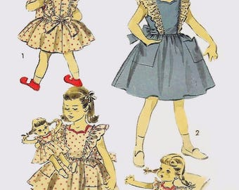 Vintage 1950's Sewing Pattern Alice in Wonderland Girls Dress Age 6 & Doll Dress