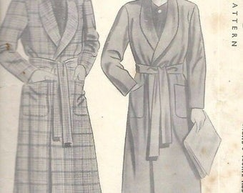 Vintage 1940's Sewing Pattern Debonair Men's Dressing Gown Robe WWII WW2