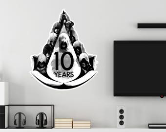 Assassin's Creed 10 Years Hooded Assassin Logo Wall Decal Officially Licensed by Ubisoft