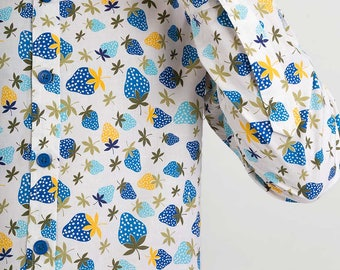 Mens 100% Cotton Long Sleeve Slim Fit Shirt Blue Strawberry Fruit on White Print