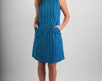 Summer Cotton Dress Blue Print with Pockets