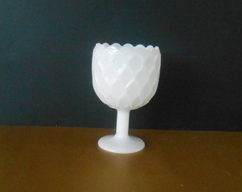 Milk Glass Goblet, Footed vintage goblet, flower dish, candy dish, footed bowl, milk glass compote, milk glass wedding