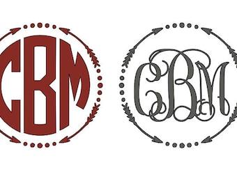 Monogram Vinyl Decal   Personalized Arrow Monogram Decal   Circle Monogram   Monogram Sticker   Yeti Cup Monogram