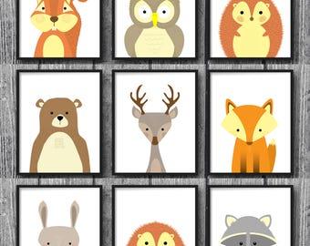 Woodland Animal Nursery Set, Woodland Theme Nursery, Nursery Print Set, Animal wall Art Set, Nursery Prints, Woodland Prints, Woodland Art