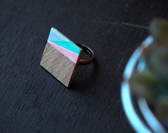 Ring [8.47 pm] — wood and papers, geometric shape. Adjustable. Original!