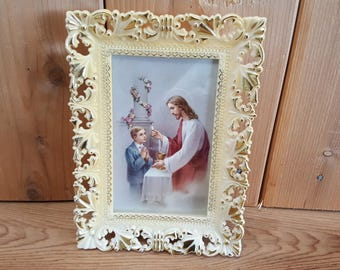 Vintage Christ at Communion Praying Child Free Standing Frame or Wall Hanging Religious Gift Christian Baptism Prayer Catholic Confirmation