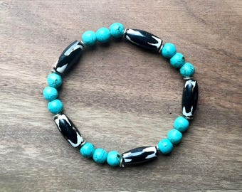 Turquoise Beaded Bracelet with Black and White Bone Beads