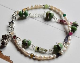 Variscite, Pearls, Gemstone Bracelet~Double Strand Utah Variscite Bracelet~ Gift Ideas For Mom~