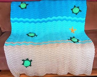 SALE* Crochet Sea Turtle Ripple Afghan Blanket, baby blanket, nursery blanket, beach blanket, crib blanket, stroller blanket, turtle blanket