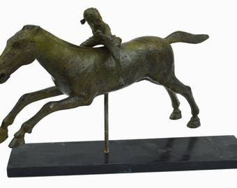 Jockey of Artemision pure bronze sculpture - Athens museum reproduction large statue