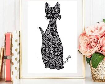 Zentangle Cat, Cat, digital print, Printable Wall Art, Home decor, wall decor, Printable prints, digital download, pet, instant download