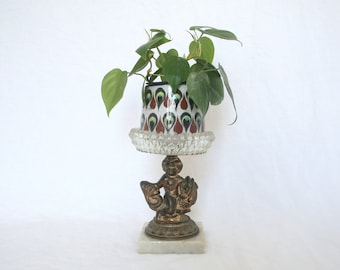 Vintage Marble and Bronze Plant Stand / Hollywood Regency Decor / Boho Plant Stand / Plant Stand Indoor