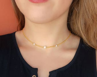 Gold Chain Choker Gold Choker Thin Gold Pearl Choker Delicate Dainty Thin  Chains For Girlfriend Freshwater 3 Three Pearl Choker Neck