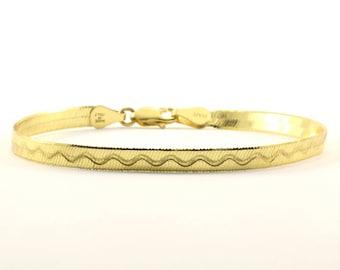 Vintage Snake Design Gold Tone Chain Bracelet 925 Sterling BR 952