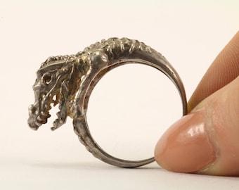 Vintage Dinosaur Ring 925 Sterling Silver RG 2685