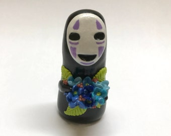Spirited Away No Face with Hydrangea Bouquet OOAK Polymer Clay Figurine