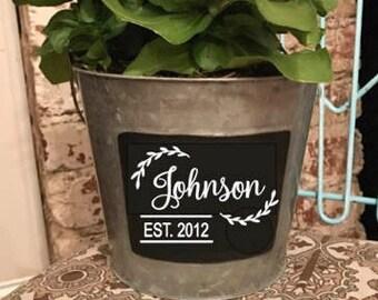 Flower planter personalized |metal planter bucket|chalkboard |personalized gift |indoor outdoor planter | metal chalkboard | gifts with name