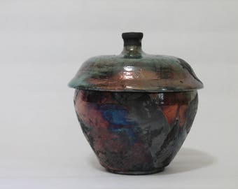 Raku Jar, Multi-color Ceramic Vase with lid (18)
