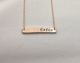 Silver - Gold - Rose Gold - Customized Hand-Stamped Horizontal Bar Necklace - Beads - Personalized