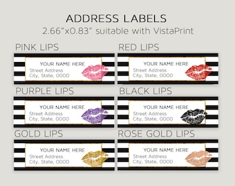 Lipsense Address Labels, Lipsense Mailers Tags, Lipsense Return Labels Stickers, Black Striped, Pink, Red, Purple, Gold lips, Digital