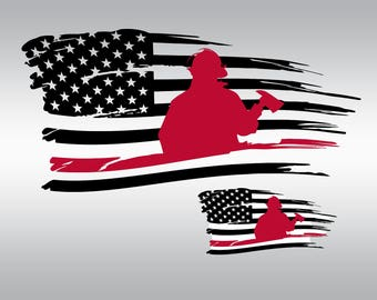 Thin red line american flag svg Clipart Cut Files Silhouette Cameo Svg for Cricut and Vinyl File cutting Digital cuts file DXF Png Pdf Eps