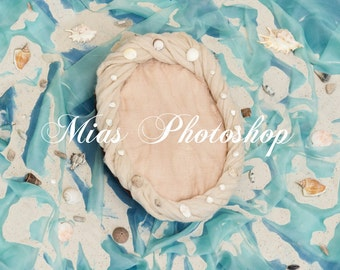 Newborn digital background, digital backdrop newborn, seabed, Ocean, shell