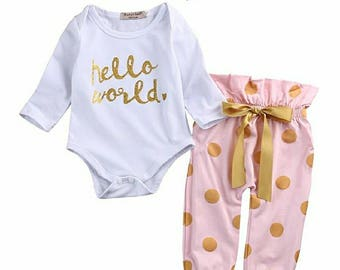 Baby Girl, Hello World, 3 Piece, Gold and Pink, Pant Set