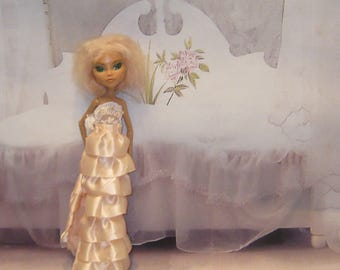 Ever After Monster High - Exclusive Design Ball Dress Sweet Peach Floor-Length for Original MH dolls Embroidered Lace & Satin Ruffles