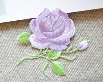 Light purple rose flower patch ,Iron-on flower  patch ,purple rose embroidered patch