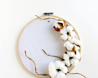 Cotton flowers Embroidery Hoop,Dry Flowers,Home Wall Art,Home Decor,Delicate,Hand Embroidery,Gift,Embroidery,Housewarming Gift