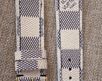 lv watch strap, apple watch strap, lv damier azur straps, apple watch band, louis vuitton straps, lv canvas strap, handmade straps