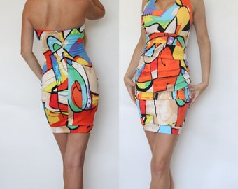 "the EMILY – Geometric Printed ""slip on"" Halterneck Pencil dress"