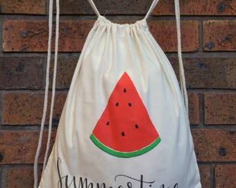 Summertime - Drawstring backpack, lightweight backpack, eco friendly daypack bag