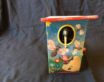 Vintage Tin Toy Woodpecker House With Bird Money Bank/Coin Bank - 1970
