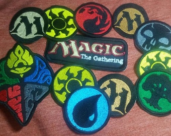 Magic the Gathering - Unofficial MTG Logo and Lands, Mana Iron On Embroidery Patches / Badges - TCG
