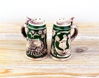 Vintage Small German Stein Salt & Pepper Shakers, Beer Stein Shakers, German Collectible Shakers