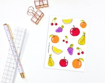 Fruit stickers - 14 fruit stickers for planners, journals and decorating, bullet journal stickers, planner supplies, food stickers