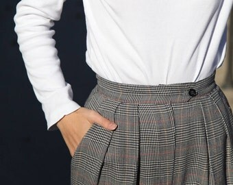 British Wool Trousers- Houndstooth-Plaid Pleated High-Rise
