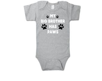My Big Brother Has Paws Baby Onesie