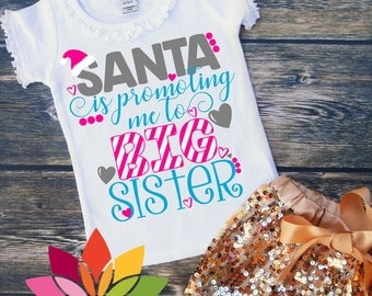 Christmas SVG, DXF, Santa is Promoting Me to Big Sister, Pregnancy Announcement, Santa Hat, cut file for silhouette cameo and cricut machine