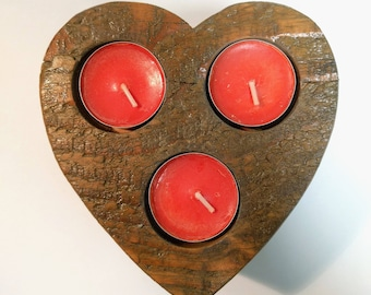Reclaimed Wood Heart shaped Tea Light Candle Holder
