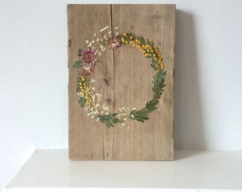 pressed flower wreath wall art reclaimed wood sign