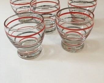 Mid Century Modern Roly Poly Glass Set / Vintage Cordial Glassware / Vintage Barware