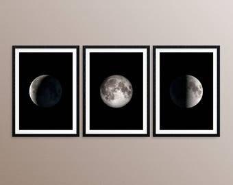 Moon Phase Wall Art, Moon Phase Print, Moon Phase Set Of 3 Print, Luna Phase, Lunar Phase Print, Moon Phase Decor, Printable Moon Phase Art