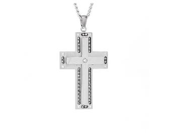 """Crystal Silver-Tone Cross Religious Inspirational Necklace Pendant Necklace, 18""""-24"""" Chain"""