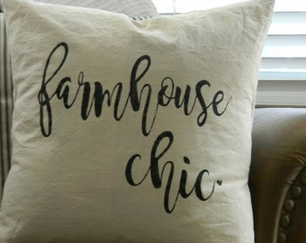 Farmhouse Chic  Throw Pillow  18x18  Hand Painted Pillow